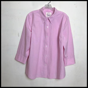 Pink Button Up Blouse GinghamTrim 3/4 Sleeves